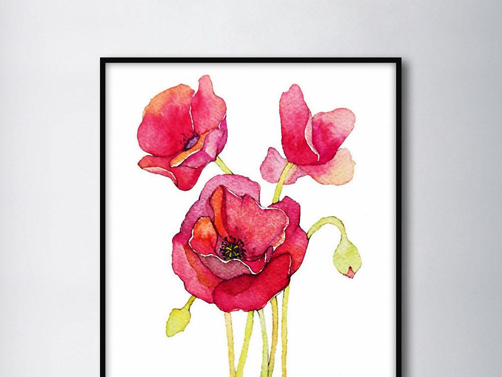 红色罂粟花北欧手绘现代欧式家居室内无框画