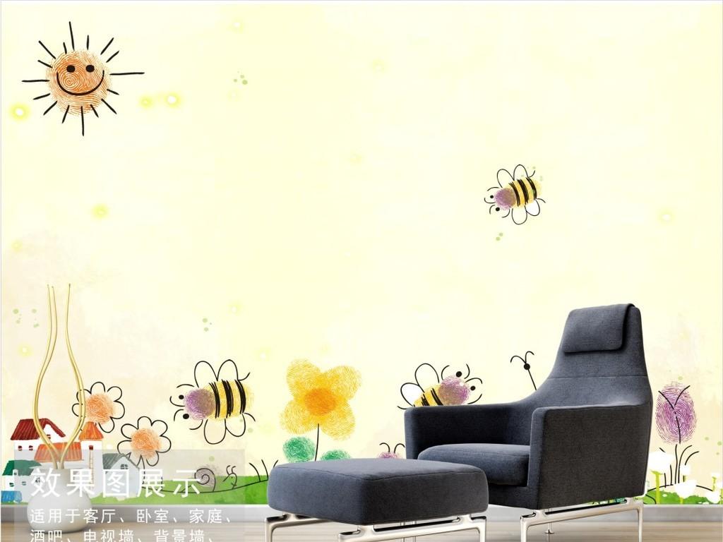 手绘卡通儿童画背景墙童画世界装饰画