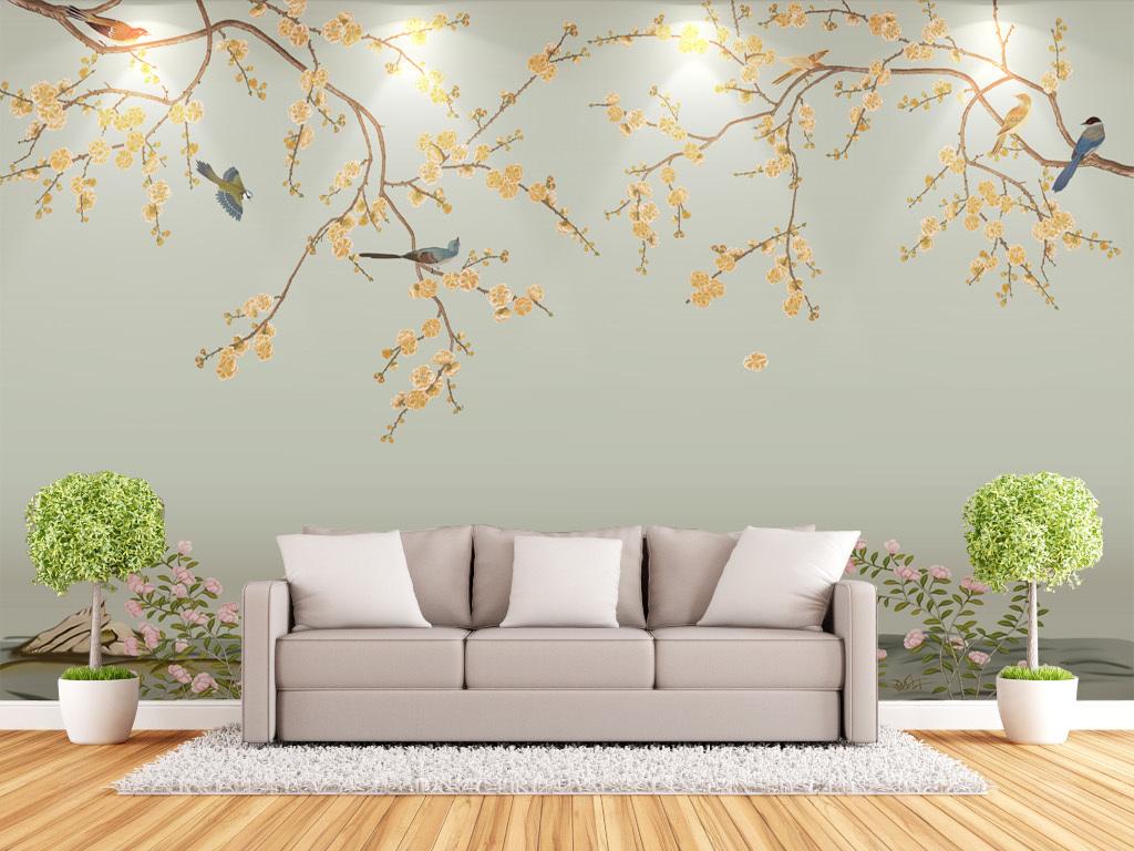 画沙发卧室墙纸手绘梅花中式中式梅花客厅手绘背景中国中式背景室内