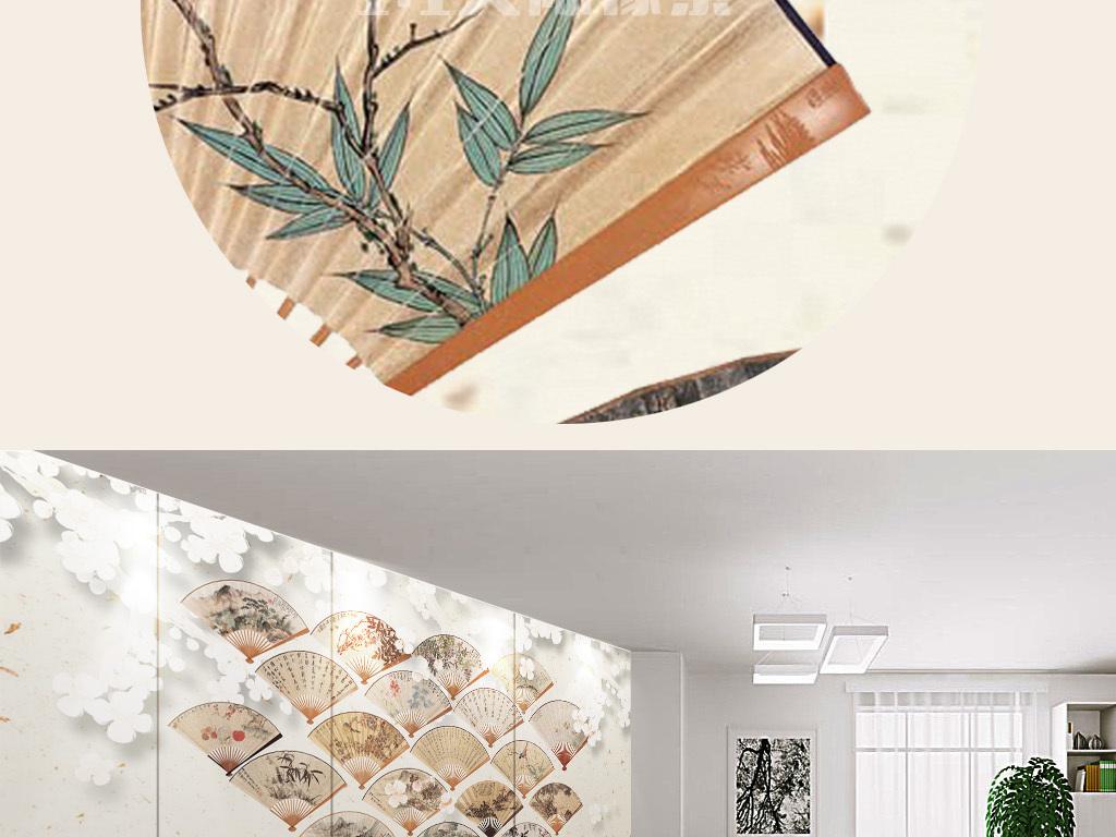 背景墙|装饰画 电视背景墙 中式电视背景墙 > 新中式扇形中国画集锦图片