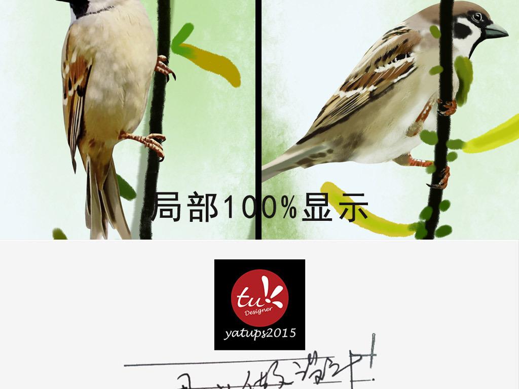 鸟手绘意境花鸟装饰画花鸟背景装