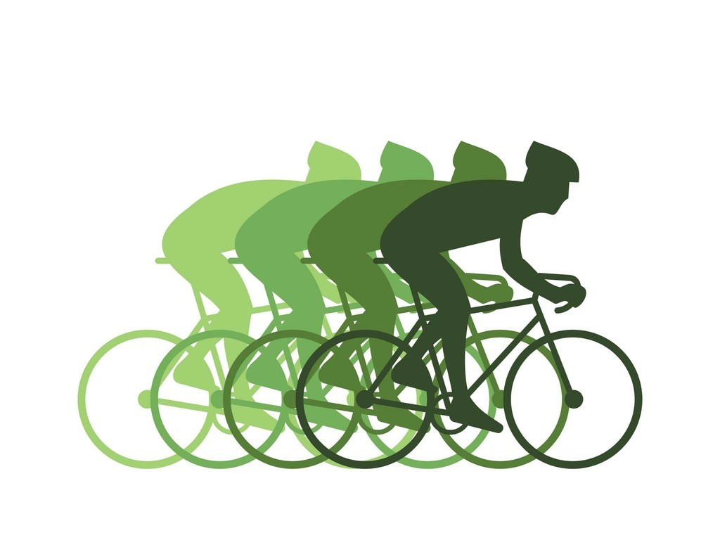 健康骑行自行车矢量素材车手