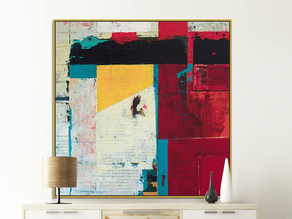 巨幅欧式客厅背景墙红色黑色色块抽象装饰画
