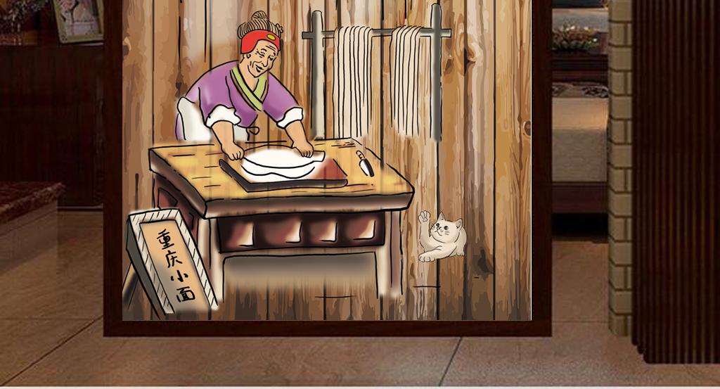 """【本作品下载内容为:""""3D木板背景拉面馆饭店工装玄关""""模板,其他内容仅为参考,如需印刷成实物请先认真校稿,避免造成不必要的经济损失。】 【声明】未经权利人许可,任何人不得随意使用本网站的原创作品(含预览图),否则将按照我国著作权法的相关规定被要求承担最高达50万元人民币的赔偿责任。"""