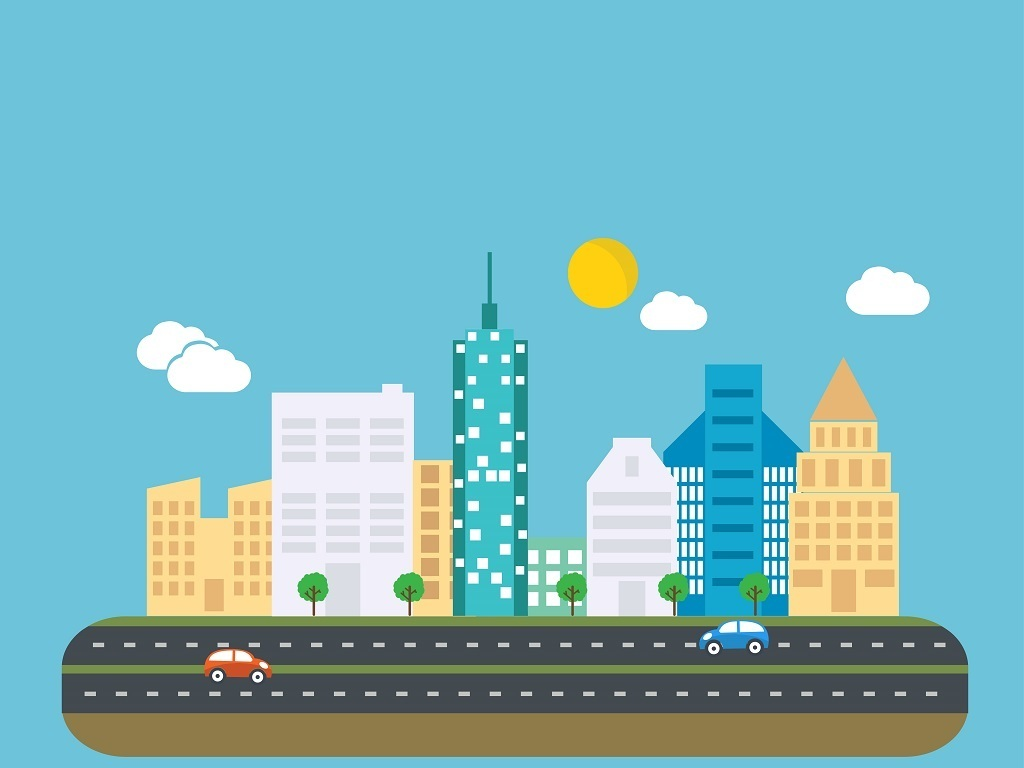 手绘儿童旅游活动宣传海报展架城市城市建筑公路城市