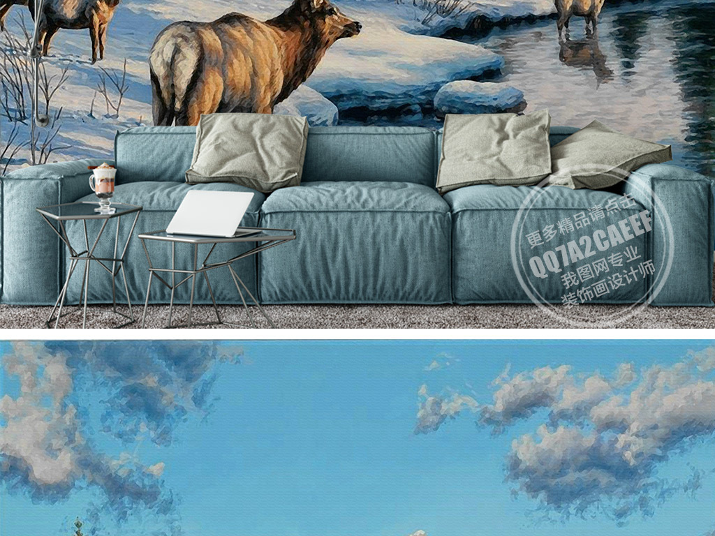 壁纸装饰画客厅卧室沙发木纹木板