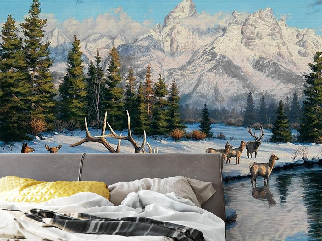欧式手绘山川河流麋鹿背景墙壁画