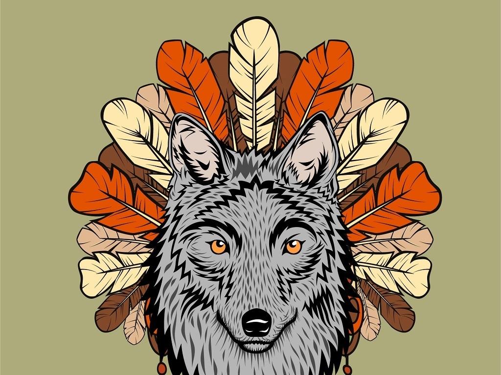 狼性威猛手绘水彩创意创意背景装饰背景背景创意灰太