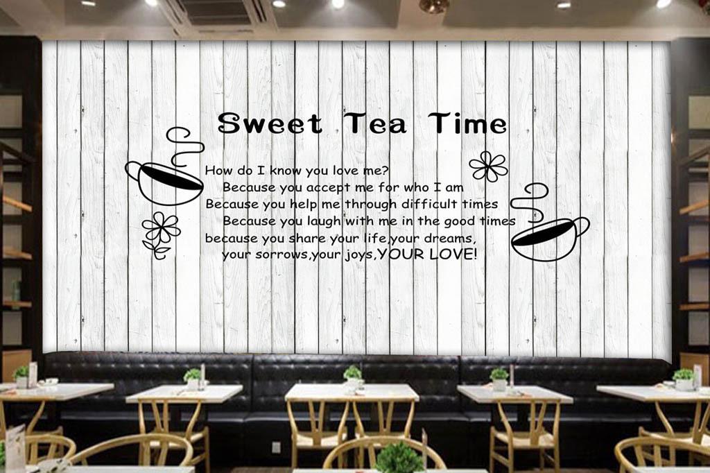 黑白现代简约手绘面包店甜品蛋糕店欧美背景时尚背景木板酒吧背景木板
