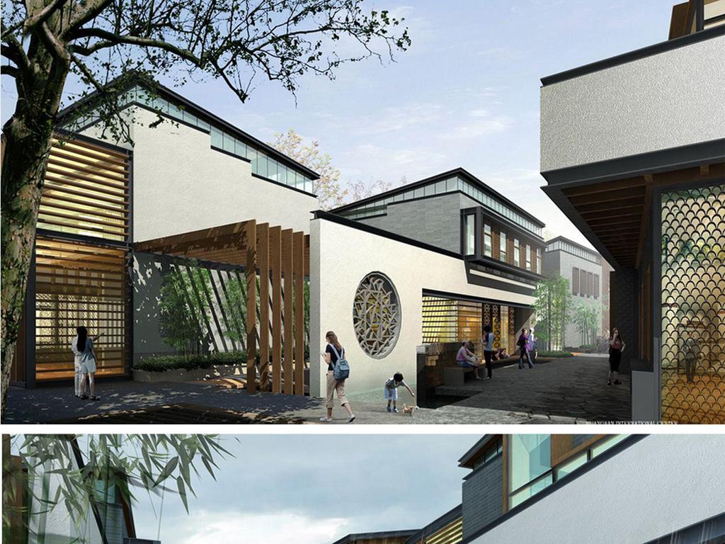 广场城市规划草图大师毕业设计作业skp模型sketchup中式徽派商业街图片