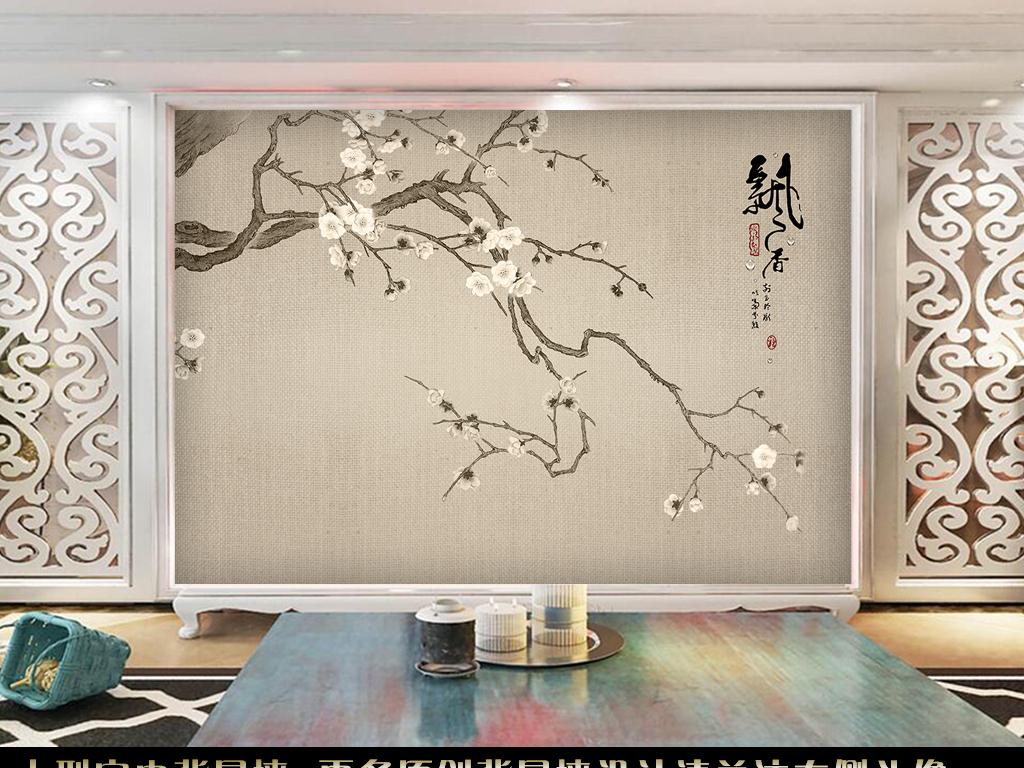 背景墙|装饰画 电视背景墙 手绘电视背景墙 > 工笔国画白色梅花电视