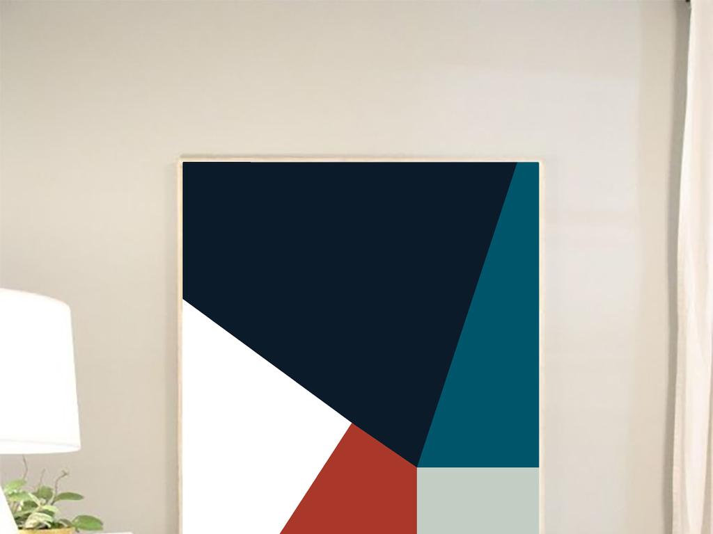 北欧简约时尚色彩几何图案无框画艺术装饰画图片