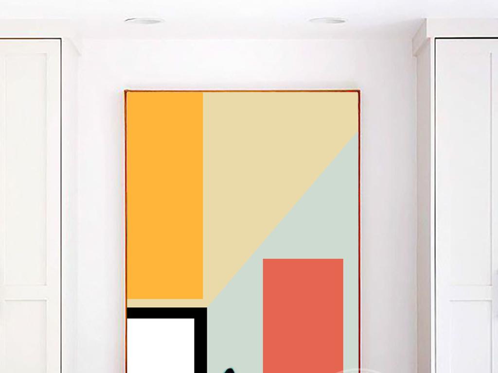 现代抽象立体彩色手绘几何图拼接装饰画