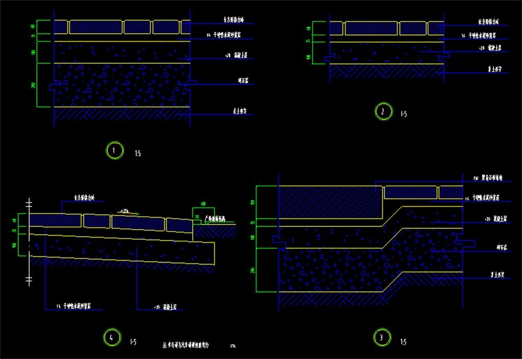 花园景观道路铺地cad设计结构图