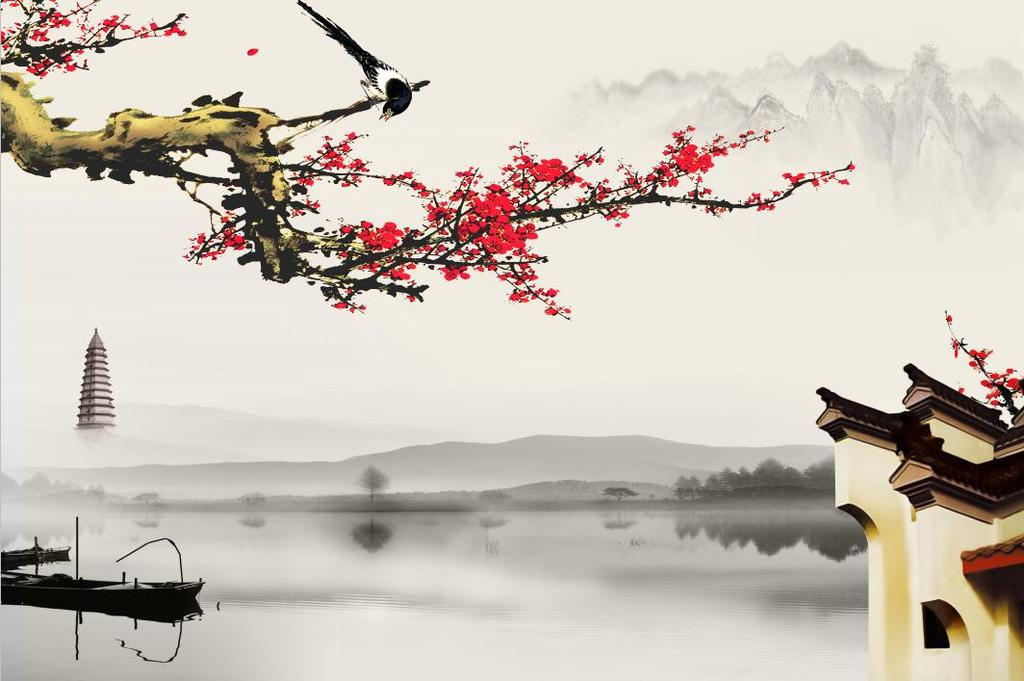 中式现代简约梅花山水国画壁画电视背景墙(图片编号:)图片