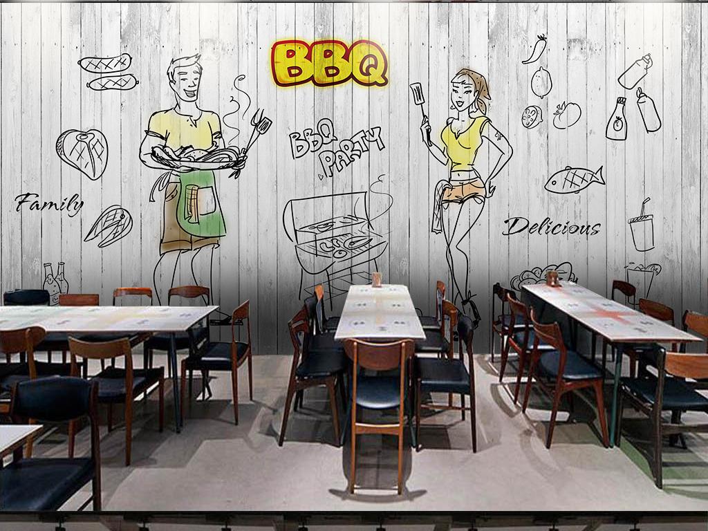 复古木板手绘线条烧烤背景墙