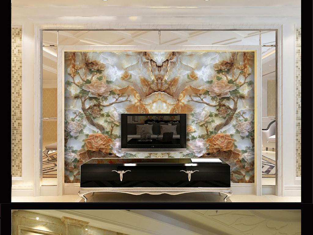 设计作品简介: 大理石纹理玉雕荷花电视背景墙