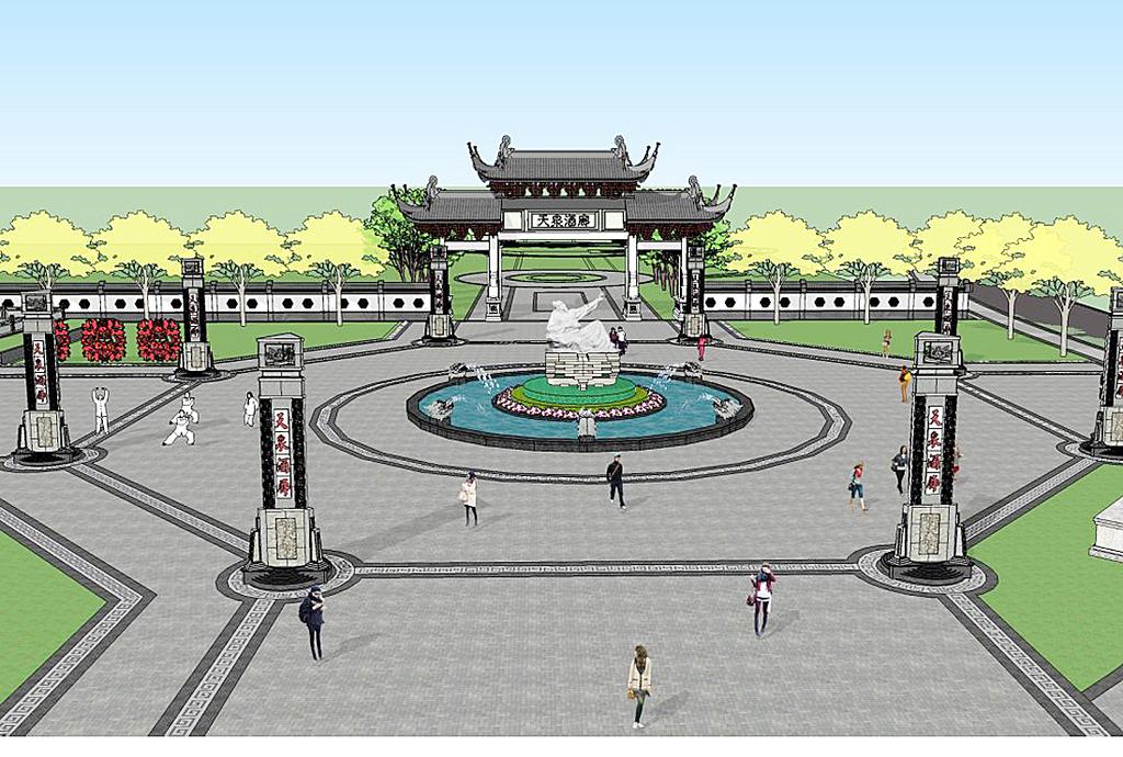 中式广场公园大门入口景观su模型