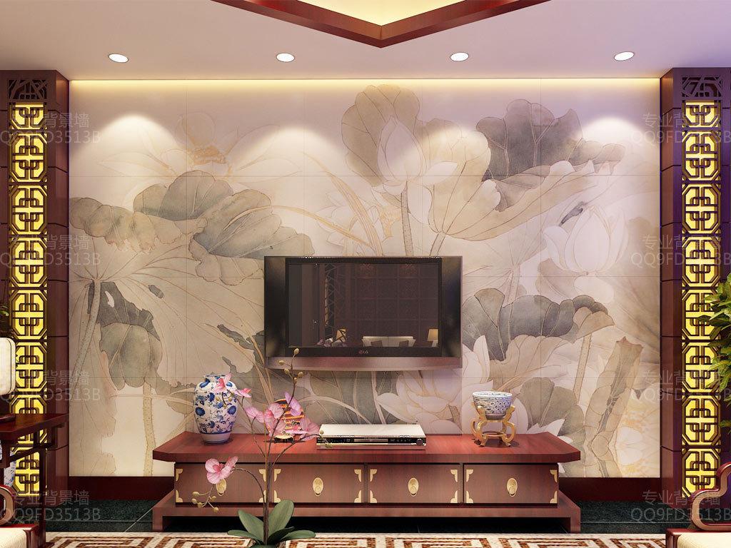 作品模板源文件可以编辑替换,设计作品简介: 水墨荷花中式背景墙壁画图片