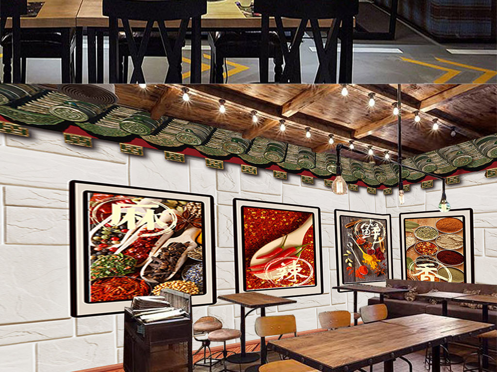 中式餐馆酒店饭店火锅店背景墙图片