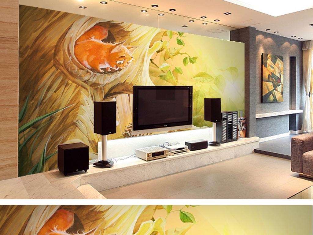 可爱插画手绘画客厅电视背景墙卧室壁纸设计