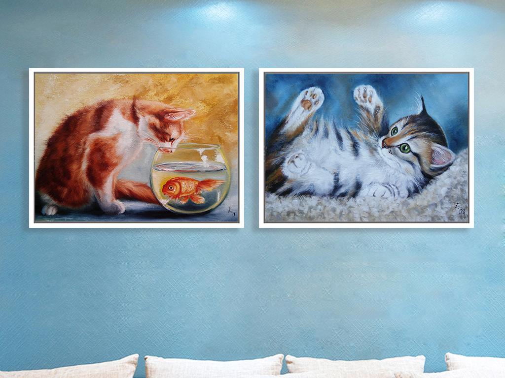 萌宠猫咪高清手绘油画现代简约装饰画