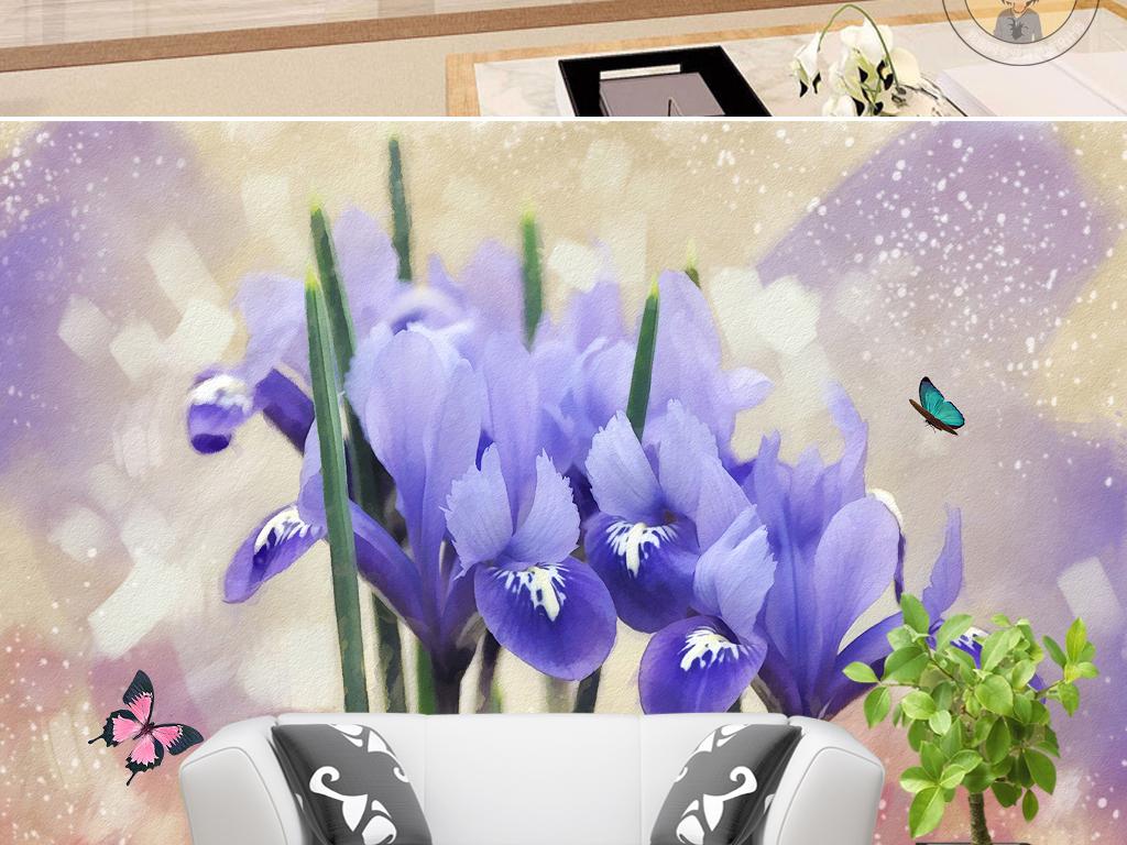 画水彩蝴蝶花朵紫色背景紫色花朵手绘人物手绘背景手绘墙手绘背景墙