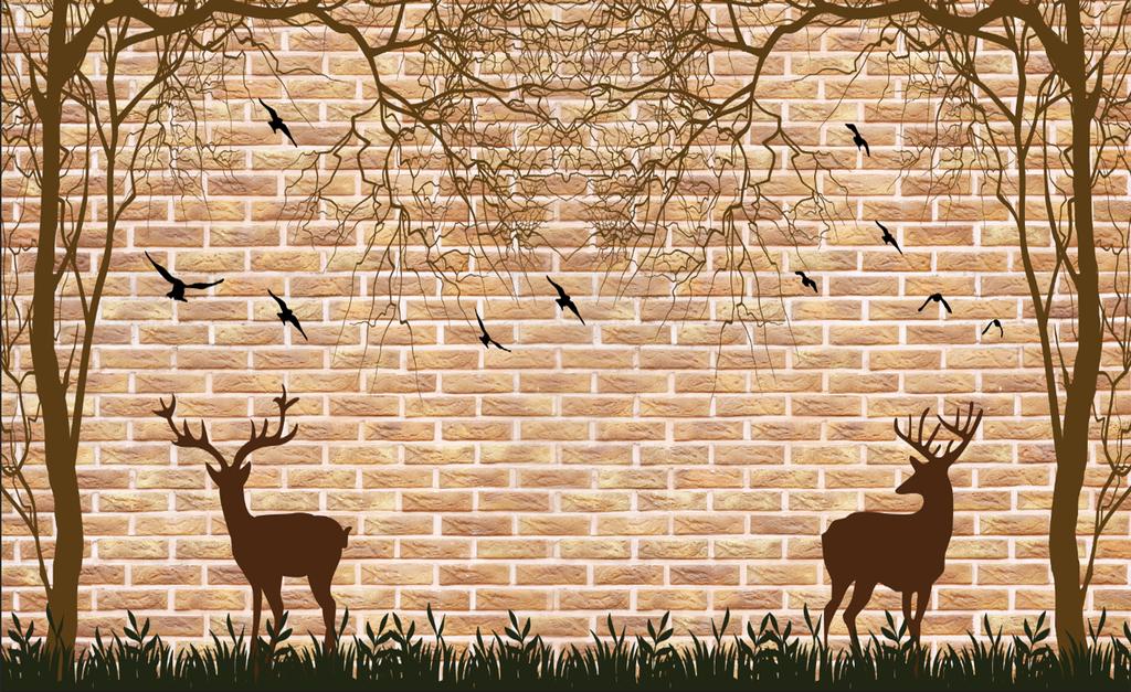 象小鹿树鸟手绘