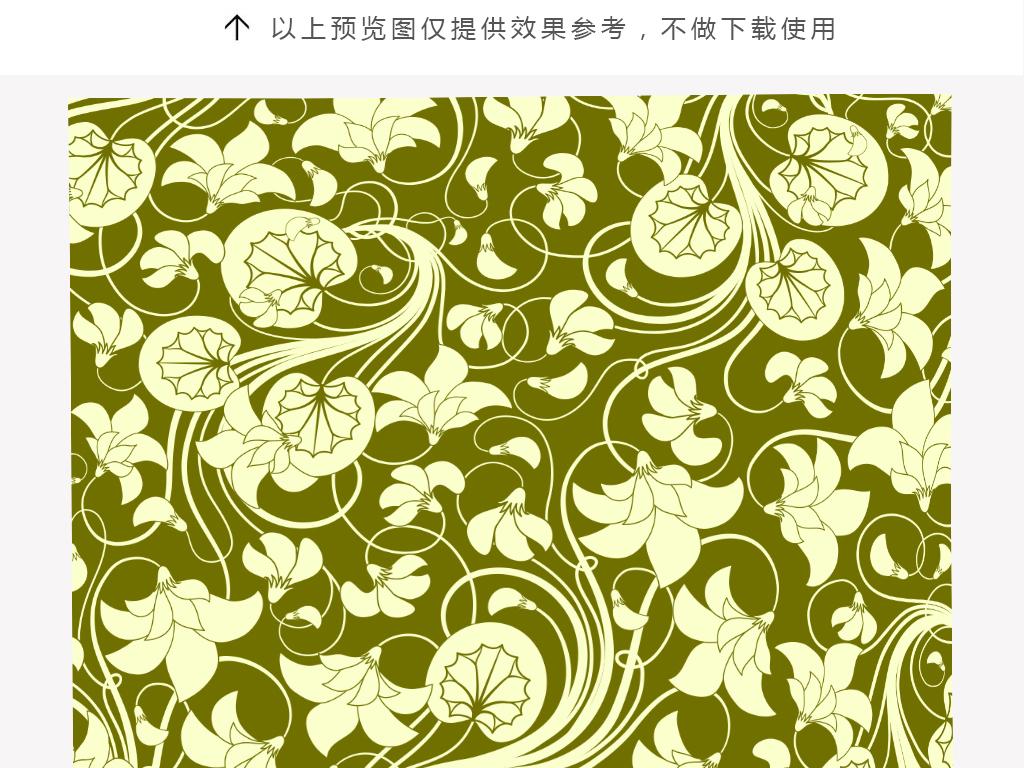 手绘花朵曲线叶子抱枕图案