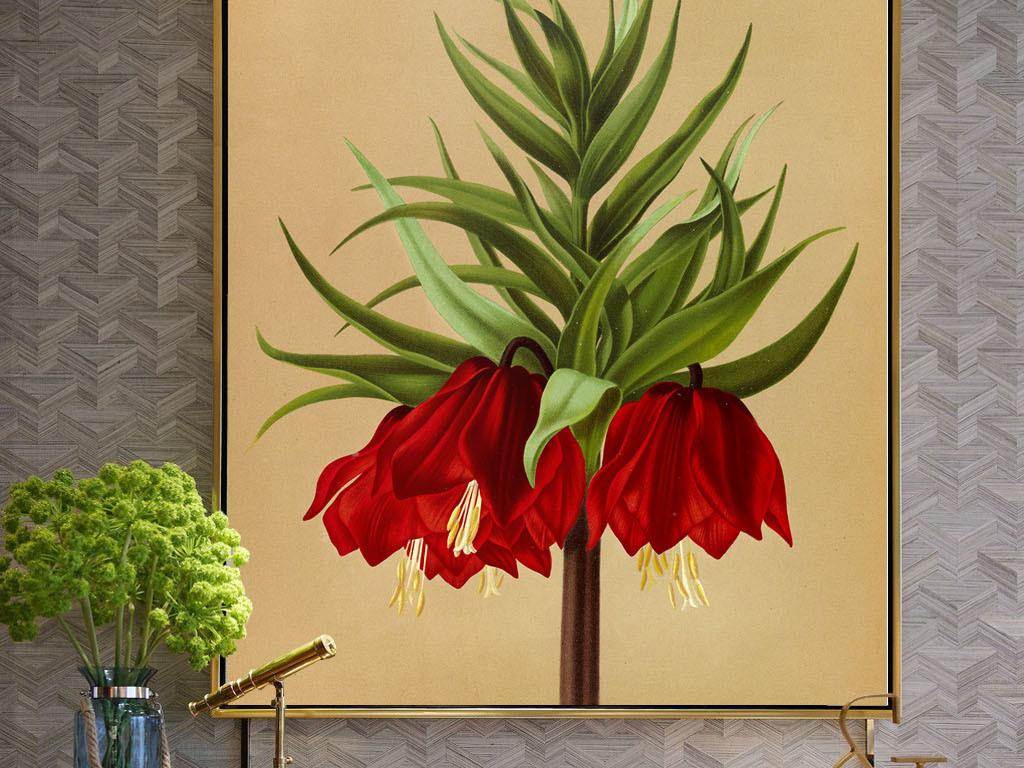 美式手绘红色花朵无框画(图片编号:15987026)_植物无