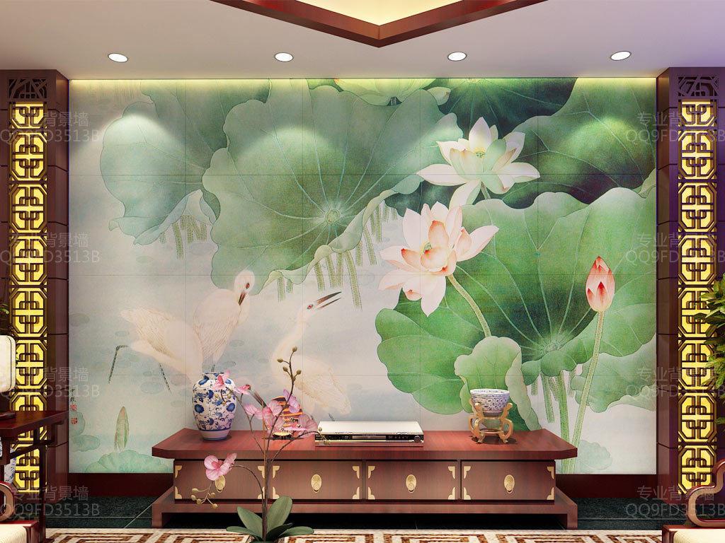 白鹭荷花中式背景墙壁画图片
