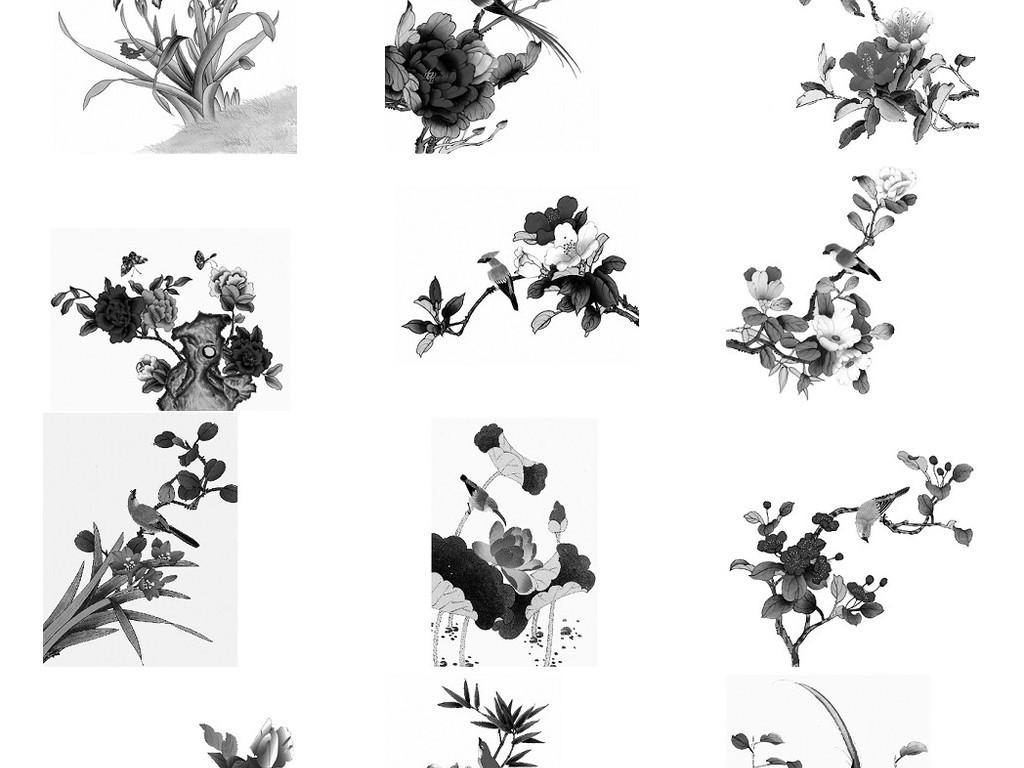 黑白色水墨花鸟素材免抠png透明图片
