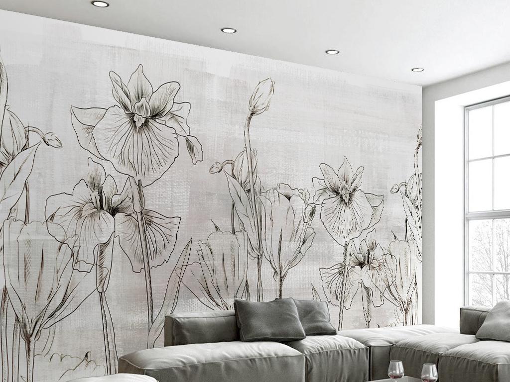 手绘黑白线描复古花朵电视背景