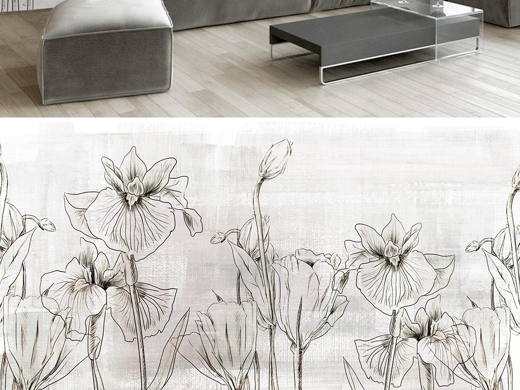 背景墙|装饰画 电视背景墙 手绘电视背景墙 > 手绘黑白线描复古花朵