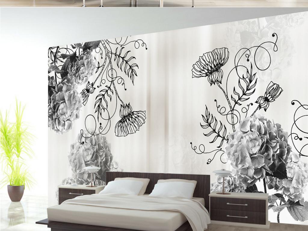 手绘复古欧式花朵电视背景墙
