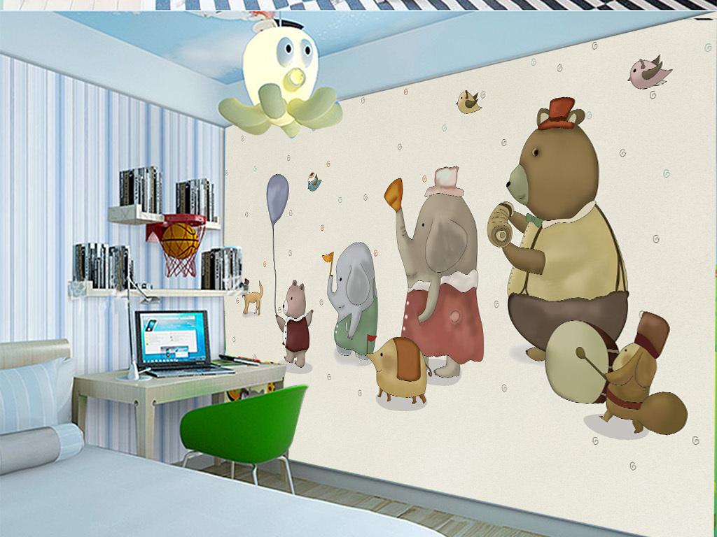 手绘卡通动物乐园背景墙