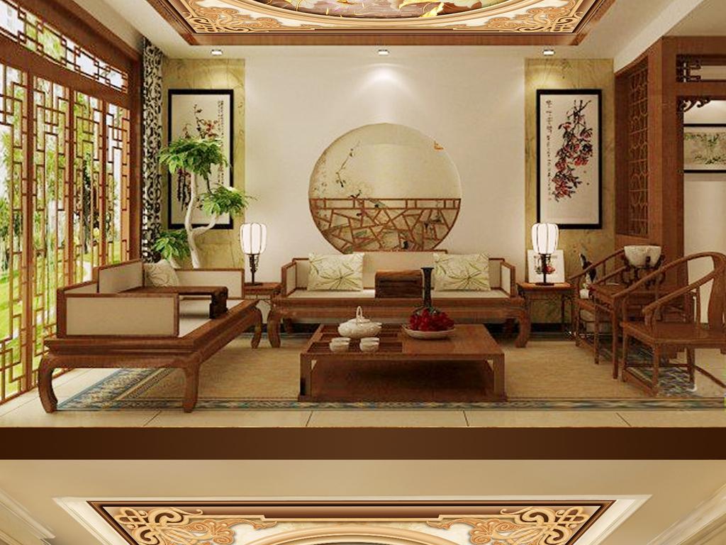 中式客厅复古荷花天花吊顶壁画