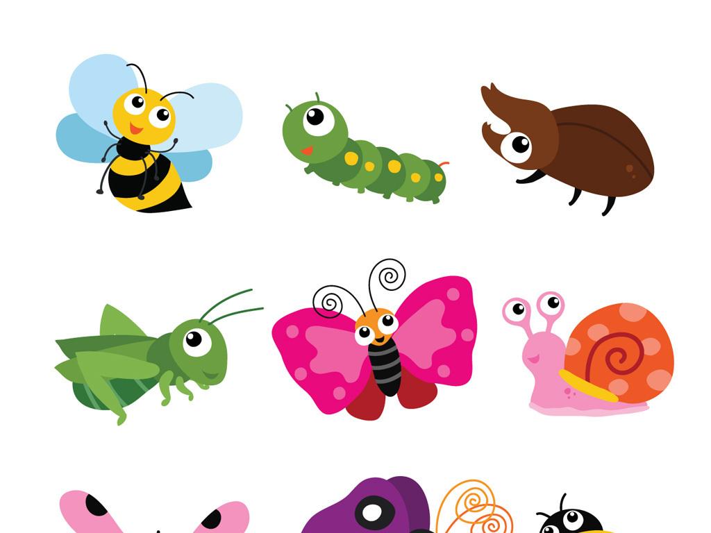 可爱卡通小动物卡通昆虫素材