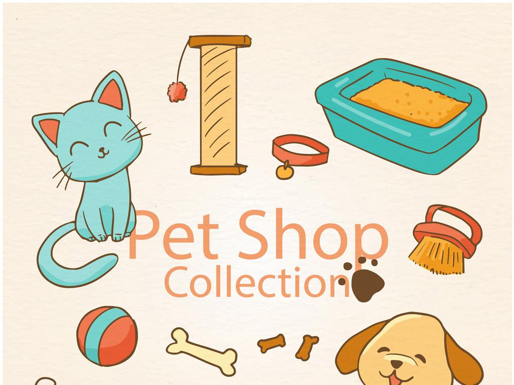 可爱卡通小动物小猫素材