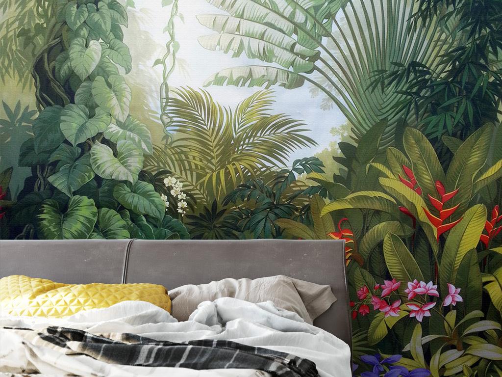 中世纪手绘热带雨林植物风景背景墙(图片编号:)