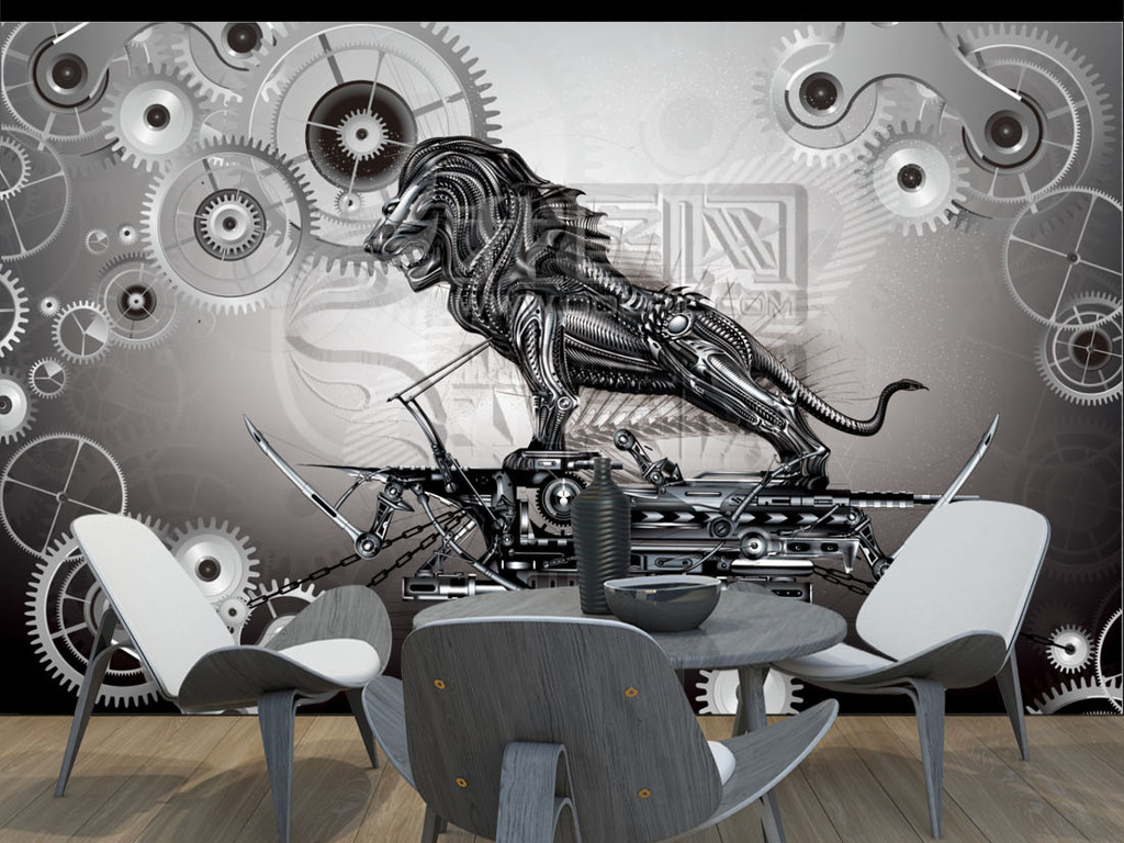 个性创意复古手绘齿轮狮子背景墙