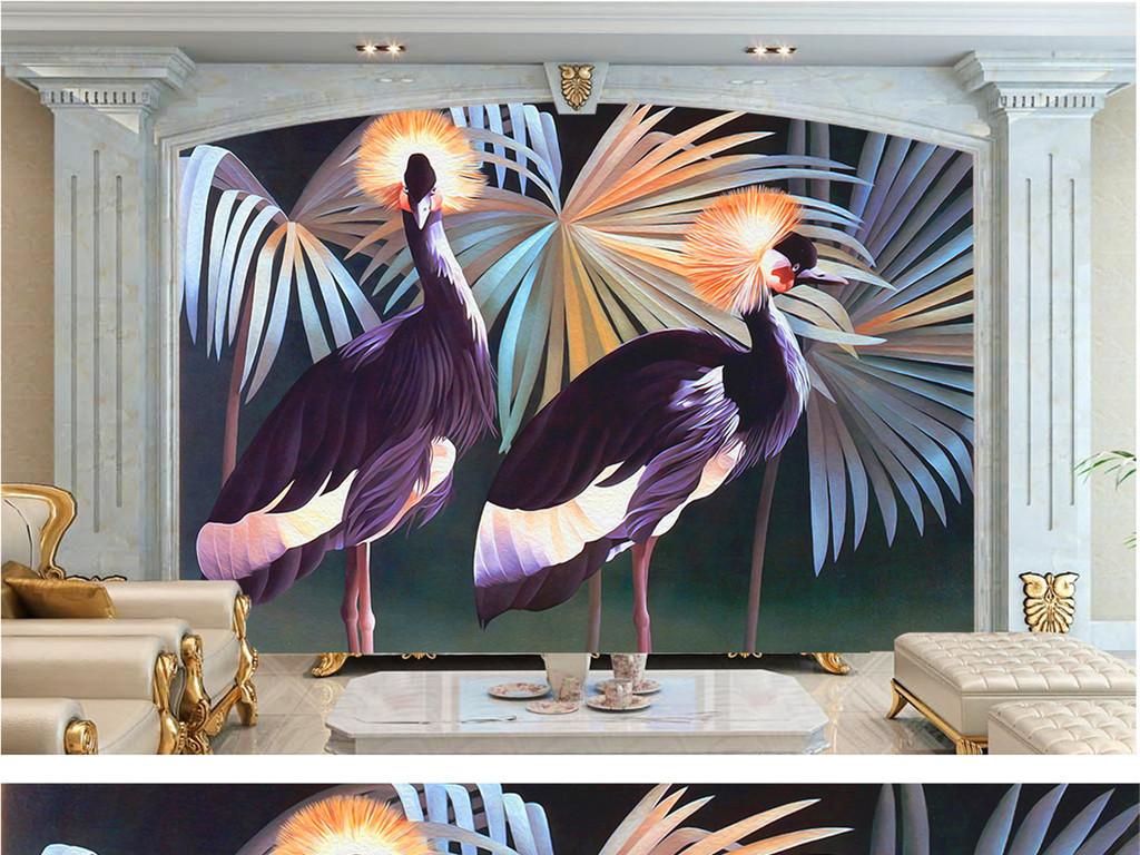 装饰画丛林                                  热带植物鸟手绘
