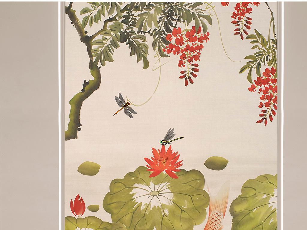 背景中式手绘蜻蜓蜻蜓手绘工笔荷花荷花鲤鱼国画荷花水墨画荷花简笔画