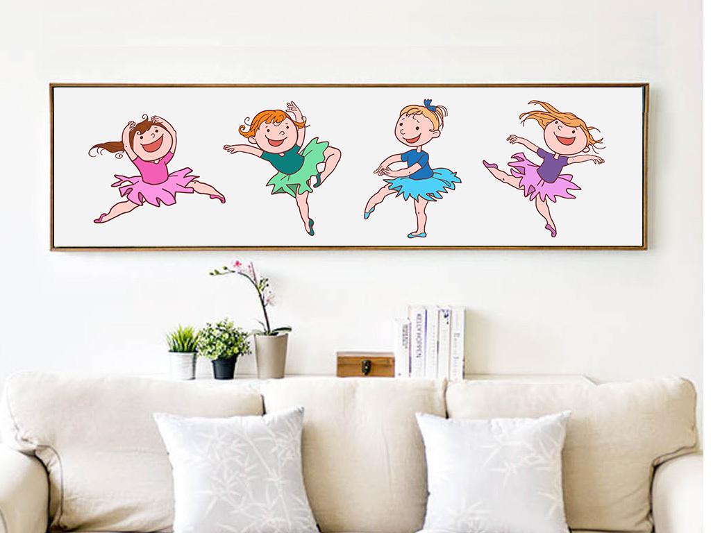 插画芭蕾舞芭蕾手绘人物手绘背景手绘墙手绘背景墙