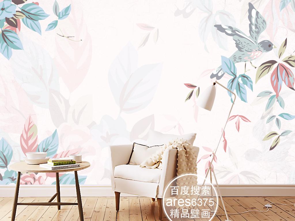 现代北欧简约手绘花鸟树叶文艺壁画背景墙