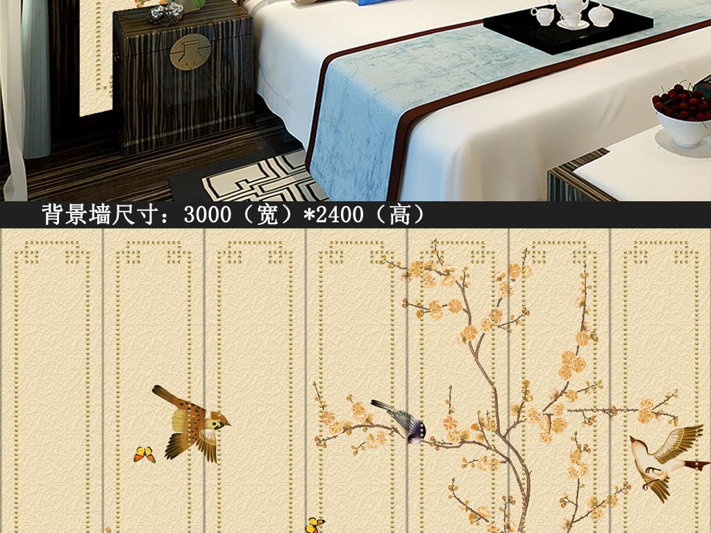新中式花鸟画背景墙装饰画