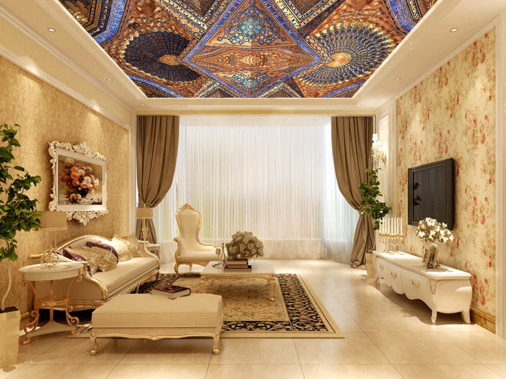 复古欧式天顶复古欧式华丽酒店大堂吊顶图片时尚吊顶图片