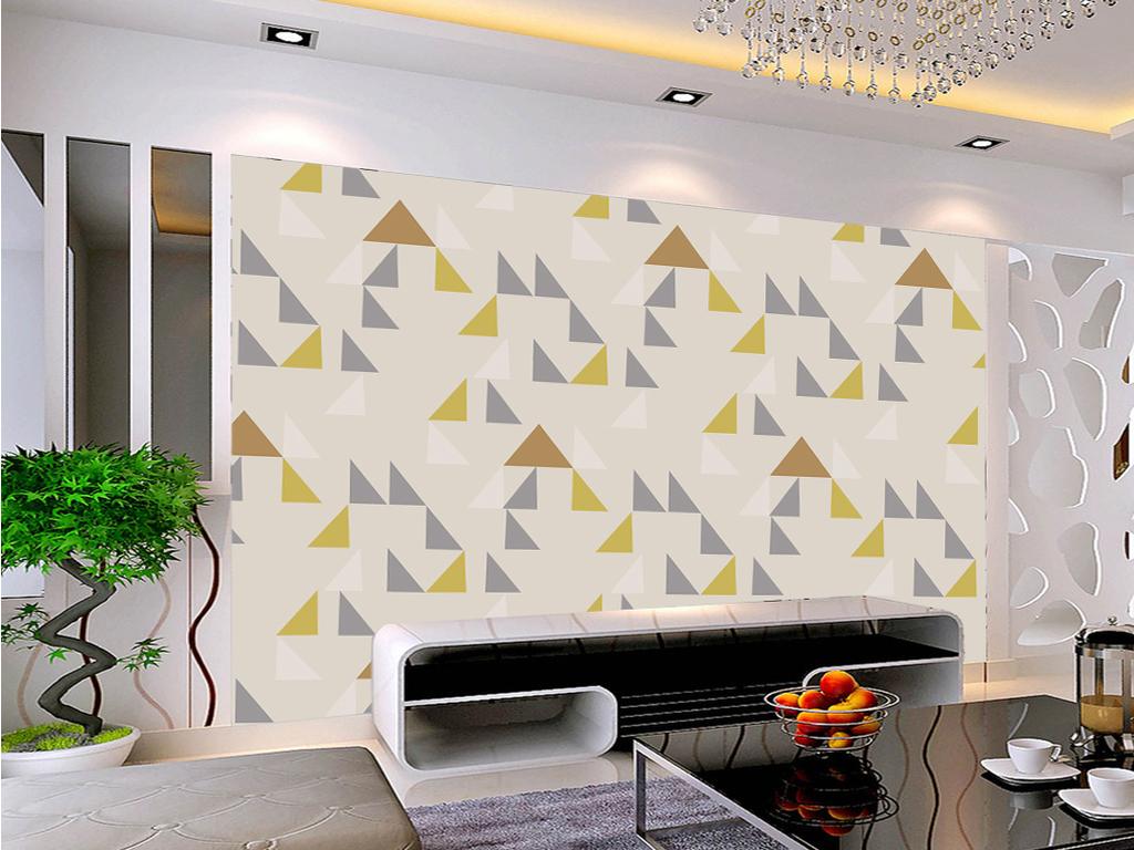 手绘几何北欧电视背景墙装饰画