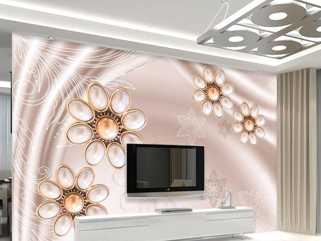 丝绸珠宝花朵电视背景墙