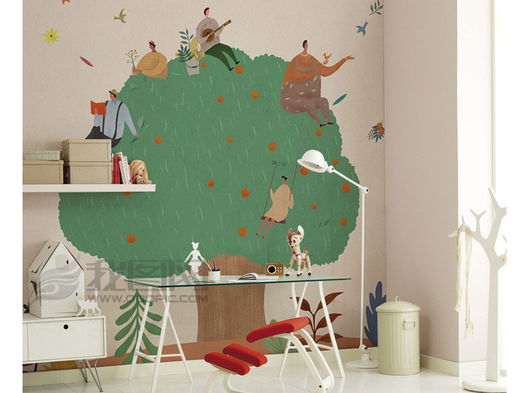 手绘卡通绿色大树背景墙装饰画